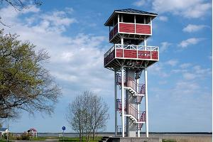 Gulf `Tagalaht` and birdwatching tower in Haapsalu promenade