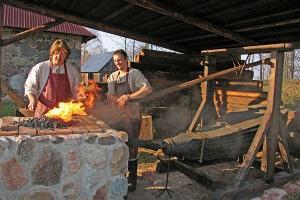 Forging a lucky horseshoe or a nail on the Sepa Farm in Rõuge