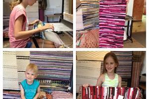 Ковроткацкая мастерская в Гильдии Марии Магдалины, занятия по тканью ковриков на станках для детей.