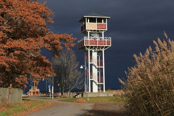 Gulf `Tagalaht` and birdwatching tower in Haapsalu promenade