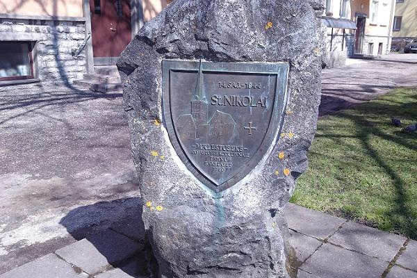 Memorial stone dedicated to St. Nicholas Church