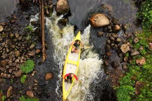 Izbraucieni ar kanoe laivām Taevaskojā, pa Ahjas upi
