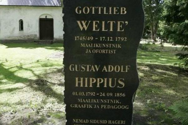 Baltiansaksalaisten taiteilijoiden Gottlieb Weltén ja Gustav Adolf Hippiusen muistokivi Hagerin hautausmaalla