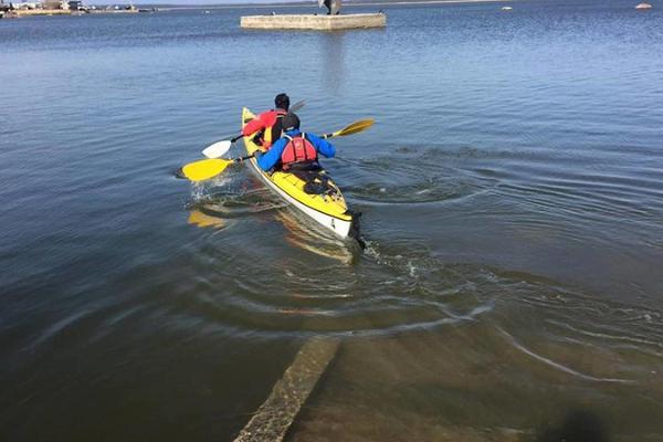 Family trip in kayaks on Haapsalu Bay