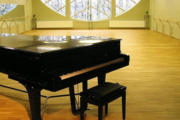 Банкетные залы и конференц-залы парка отдыха Тяхтвере, рояль в зале на втором этаже