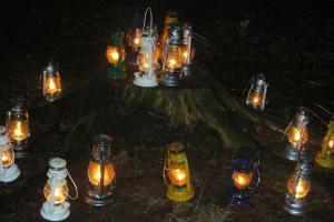 """Piedzīvojumu pārgājiens """"Ar laternām naksnīgajā mežā"""" Elvas atpūtas zonā"""