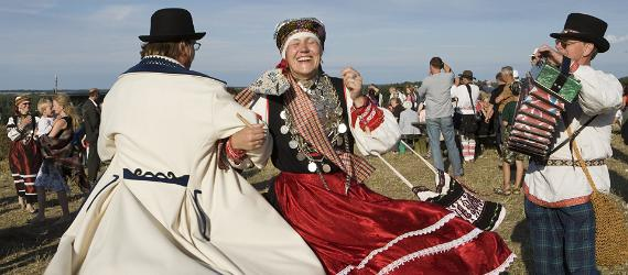 Estonian folk costumes are worn to traditional festivals.