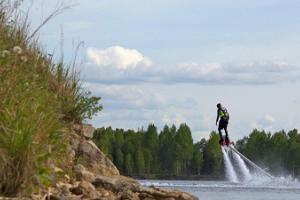 Flyboardfahren im Steinbruch von Rummu