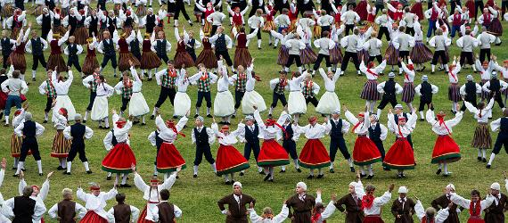 Estonian dancers perform at a song and folk dance celebration