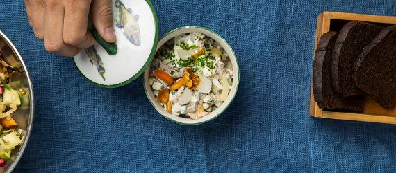 Wild mushroom and egg salad with cottage cheese