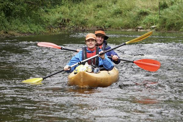 Canoeing on the border of the European Union