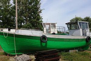 Kihnu Fishermen's Harbour and historic Kihnu fishing boats