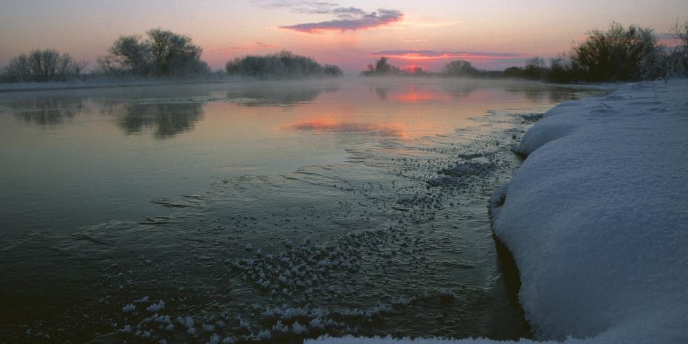 Красивый замерзший берег