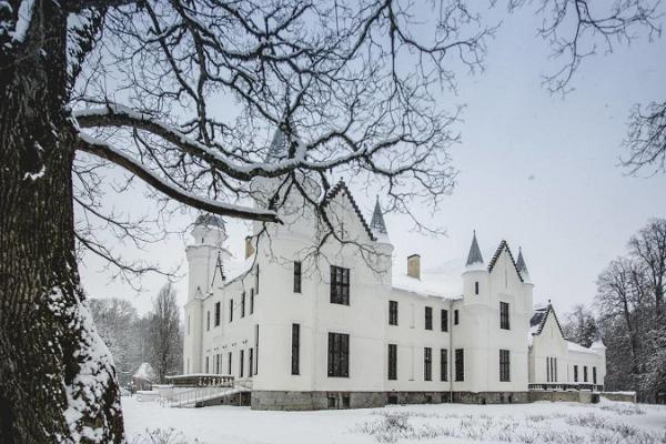 Herrenhaus Alatskivi in einem schneereichen Winter