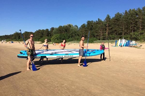 Water sports equipment rental on Narva-Jõesuu beach by the Surf Club