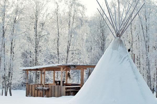 Teepee sauna at Jõe Holiday Farm