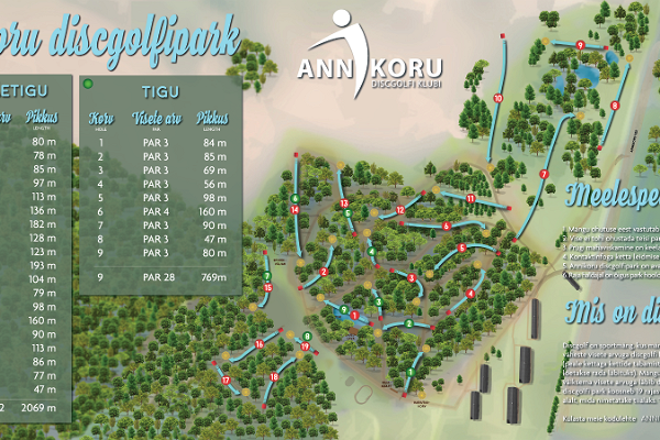 Annikoru discgolfparks planritning