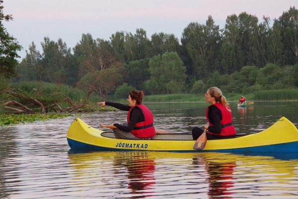 Beaver observation trip in canoes