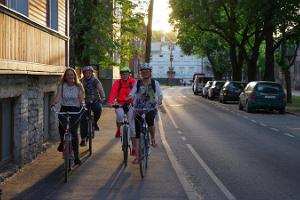 Cycling along the streets of Tallinn in the evening