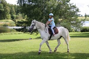 Tüdruk ratsutab valgel hovisel Laagna hotelli juures