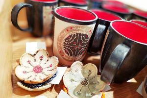 Ceramics in the museum shop of Narva Castle