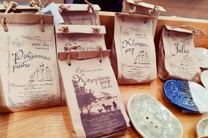 Local handicraft soaps in the museum shop of Narva Castle