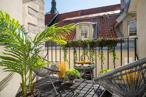 Rataskaevu Boutique deluxe apartment with a terrace and fireplace in the Old Town