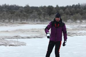 Ice skating on the bog-pools of Rubina Bog in the historical Mulgimaa