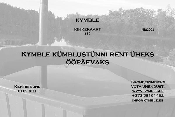 Kymble - Kümblustünni rent Tartumaal, tünnisauna kinkekaart