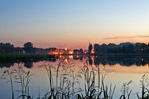 Kvällssikt över staden Valga