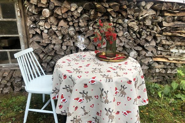 Ümmargune linane laudlina, round linen tablecloth