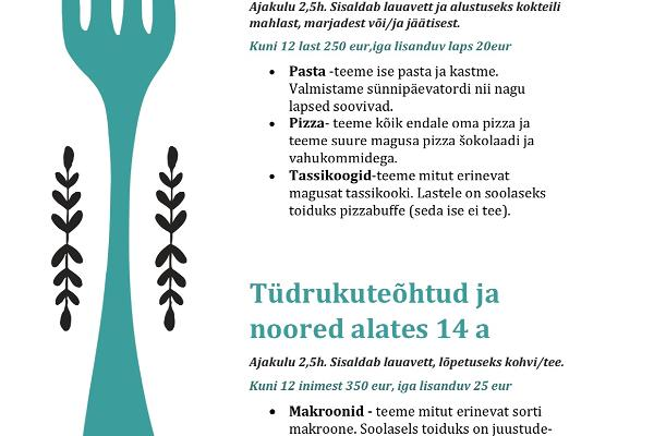 Children's menus at the MyItaly Food Studio
