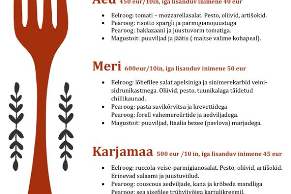 Four options for three-course menus for adults