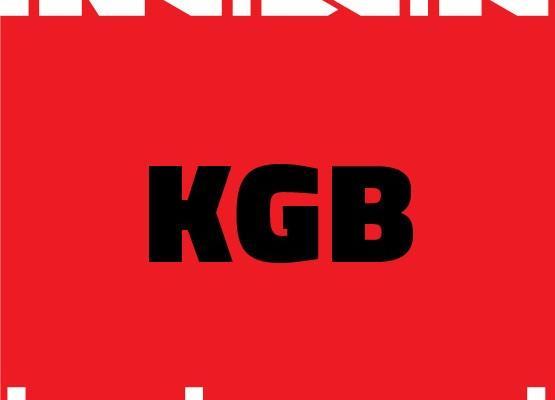 """Lavastuse """"KGB"""" plakat, sõna KGB punasel taustal"""