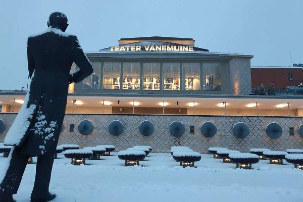 Theatre Vanemuine (conference centre in the big house), winter view with Eduard Tubin