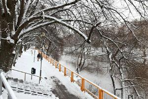 Vabaduse puiestiku park lumisel talvel
