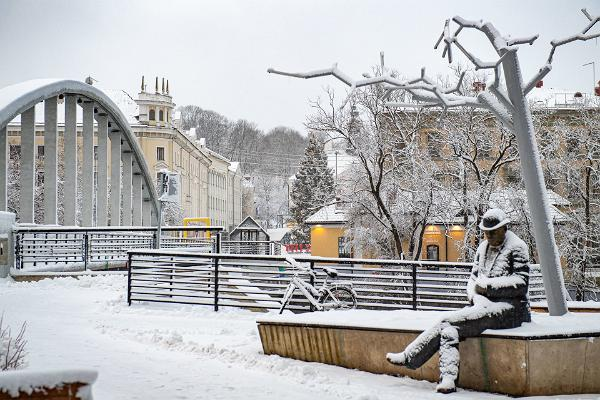 Lidijas Koidulas un Johana Voldemāra Jansena memoriālais laukums sniegotā ziemā