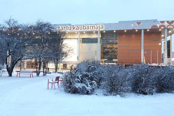 Tartu Kaubamaja in snowy winter