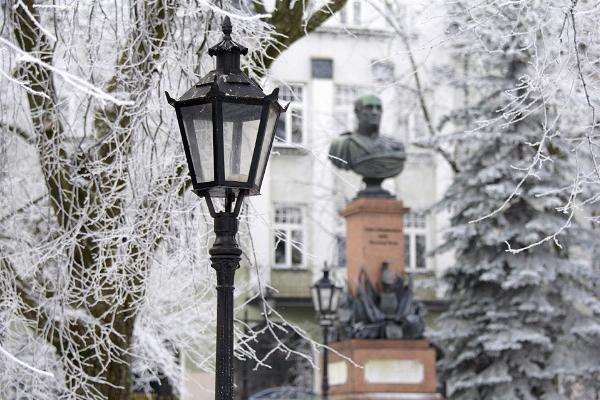 Barklaja de Tolli piemineklis sniegotā ziemā