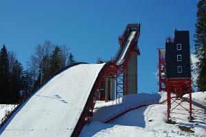 Aussichtsplattform der Skisprungschanze bei Tehvandi