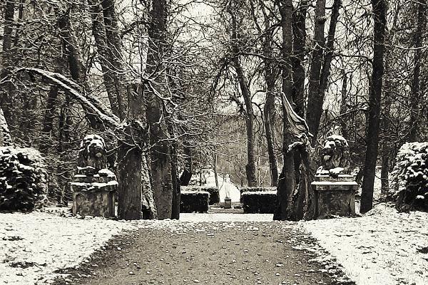 Luke herrgårdspark och lejonstatyer på vintern
