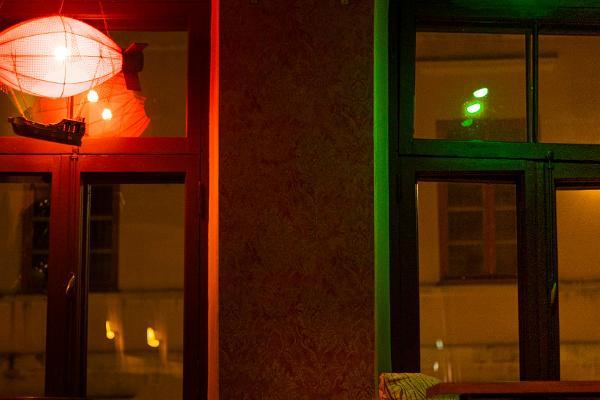 Bar Trepp and a light show on the windows
