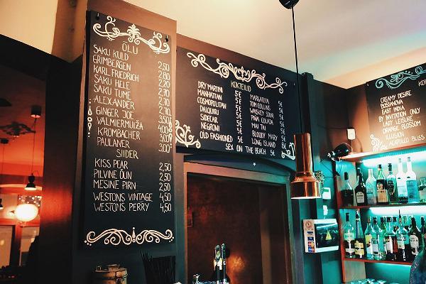 Bar Trepp and its menu