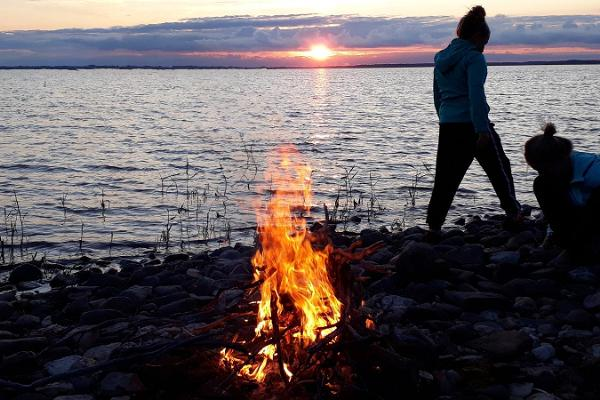 Bonfire by the sea