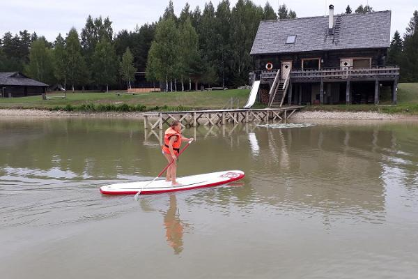 Paddeling with SUP board