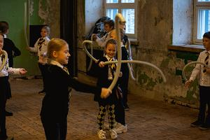 Children playing unusual instruments during the music festival Big Bang Tallinn