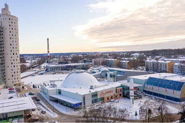 Wissenschaftszentrum AHHAA, winterliche Ansicht aus der Vogelperspektive