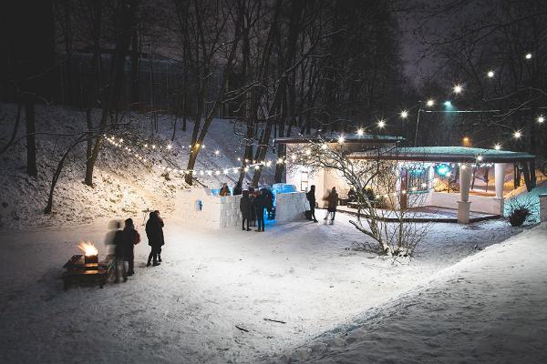 ULA bar, snow bar, winter, bonfire