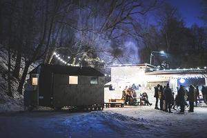 ULA bar, sauna, winter, snow bar