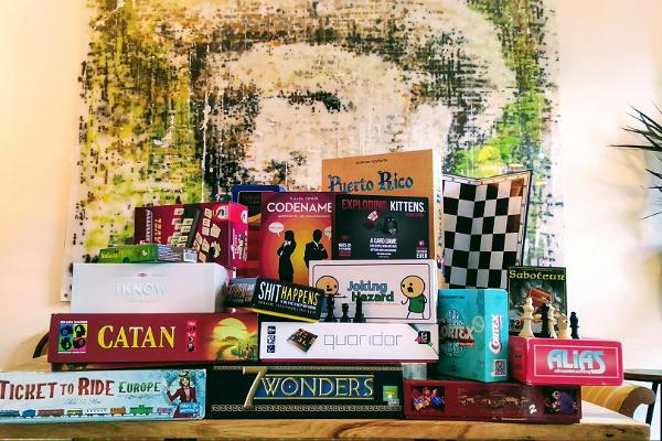 ULA bar, wide selection of board games